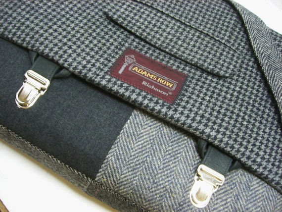 Messenger Bag,  Canves lined, Laptop Sleeve, Trunk Latch,  Large, Recycled Suit Coat