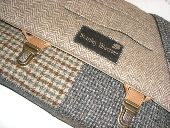 Messenger Bag  Laptop Sleeve,Trunk Latch,Recycled Suit Coat