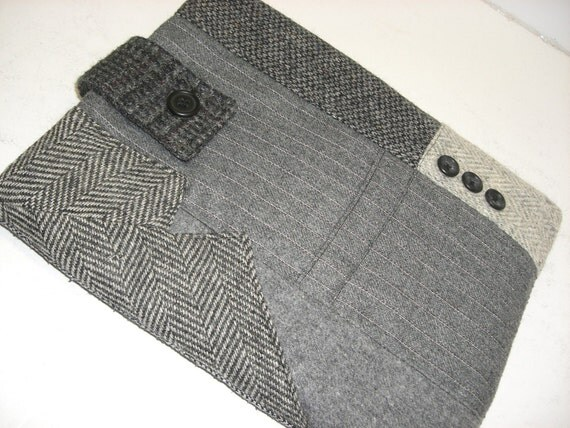 Tablet case,iPad sleeve case Eco Friendly Recycled  clothing gray wool
