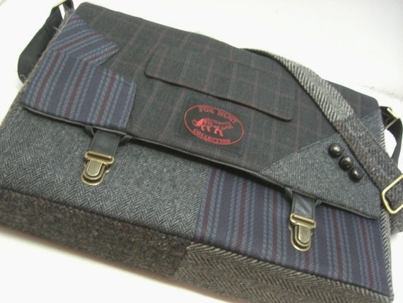 Large bag, Messenger Bag  Laptop Sleeve,Trunk Latch collar and sleeve accents,Recycled Suit Coat
