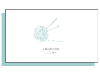 Set of 4 knitknotes enclosure cards - I Made This. XOXOXO.
