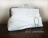 Oval Rhinestone Bridal Wedding Clutch Purse bridesmaid Gift Bag Set Wedding Clutch  by Lolis Crations