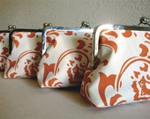 Set of 3 Burnt Orange Bridesmaid Gifts Purses Bags Wedding Clutches Kisslock by Lolis Creations