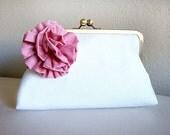 Pink Flower Bridesmaid Clutch Wedding Purse Bag by Lolis Creations