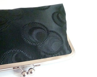 Bridesmaid Gift Black Brocade Bag Purse Wedding Clutch Mother of the Bride