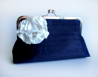 Silk Lolis Flower Wedding Clutch Bridesmaid Gift Purse Bag by Lolis Creations