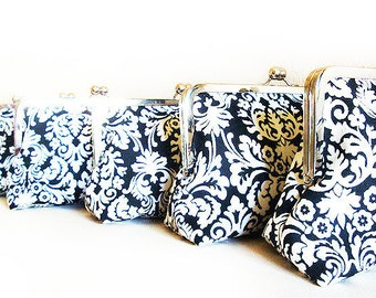 Set of 7 Clutches Bridesmaids Gifts Party Black Damask Wedding Black and White Purses Personalized Bridal Clutch Clutches Gift Set Kisslock