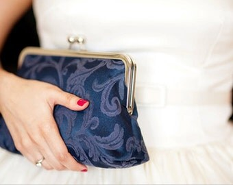 Personalized Bridal Clutch Purse Elegant Navy Blue Wedding Bag Bridesmaid Bride Dark Blue Maid of Honor Bridal Shower Mother of the Bride