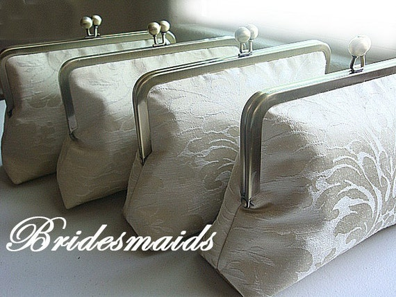 Bridesmaids Gift Ideas Purses Bags Clutches Personalized Gift Set Customize Your Champagne Nude Wedding Bridal Party Gift Clutch Purse