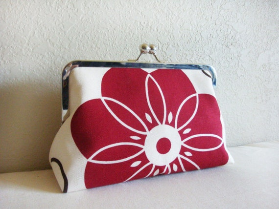 Burgundy Flower Wedding Clutch Bag Bridesmaid Gift