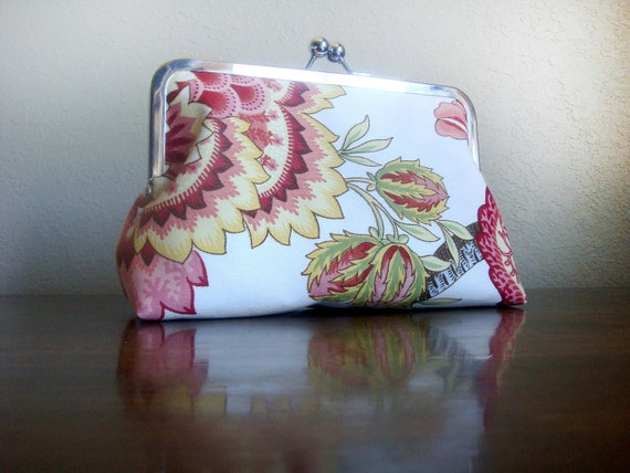 Flowers Vintage Inspired Clutch Wedding Handmade Personalized Bag Purse Bridesmaid Gift by Lolis Creations