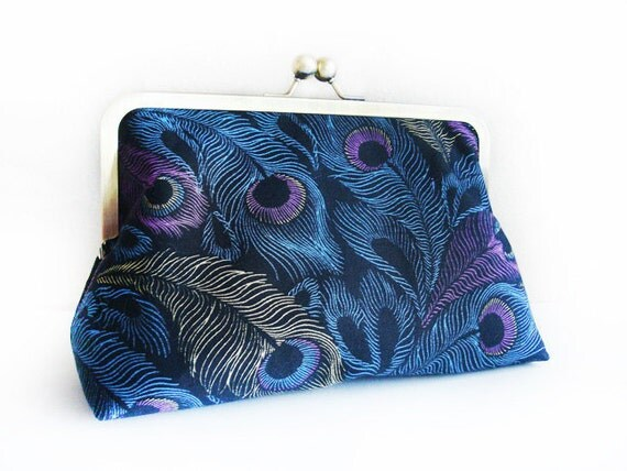 Peacock Feathers Bridal Wedding Bridesmaid Purse Bag Clutch