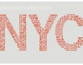 NYC Dictionary (11 x 17 New York City Word Cloud Poster in Gray and Red)