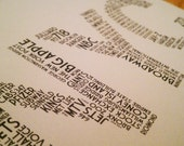 NYC Dictionary Mini Print (7 x 5 New York City Word Cloud Print in Dove Gray and Navy)