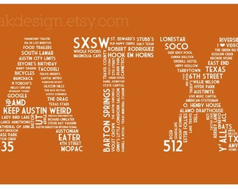 ATX Dictionary (Burnt Orange 11 x 17 Austin, Texas Poster)