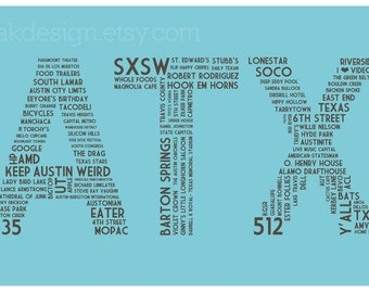 ATX Dictionary (Robins Egg Blue 11 x 17 Austin, Texas Poster)