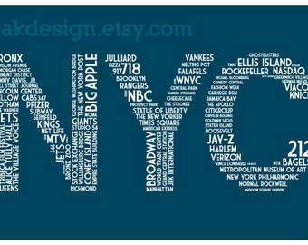 NYC Dictionary (11 x 17 New York City Poster in Navy)