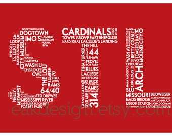 STL Print - 11 x 17 Red Poster (St. Louis MO)
