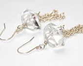 Crystal Quartz Earrings - Tassel Earrings - Chunky Stone - Wedding Jewelry - Clear