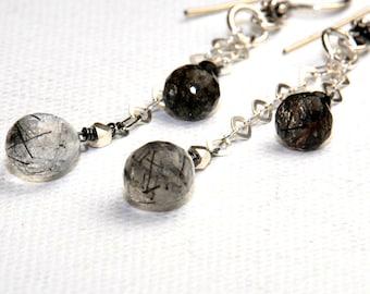 Black Earrings - Long Earrings - Tourmalinated Quartz Earrings - Gemstone Earrings - Black and White