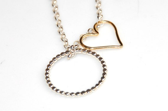 Mixed Metal Necklace Circle Necklace Heart Necklace Charm Necklace Sterling Silver 14K Gold filled