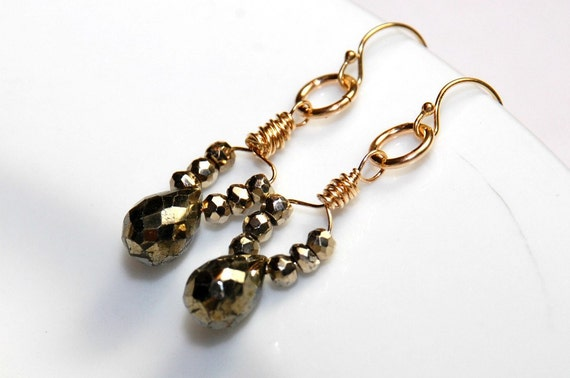 Metallic Earrings - Short Dangle Earrings - Pyrite Gemstone Earrings - Wire Wrapped Earrings