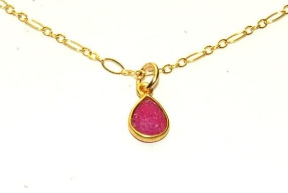 Pink Agate Druzy Necklace 14K Gold filled Sparkling Crystal  Simple reversible necklace