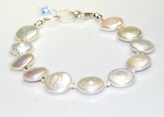White Pearl Bracelet - Blue Crystals - Wedding - Sterling Silver - Coin Pearls