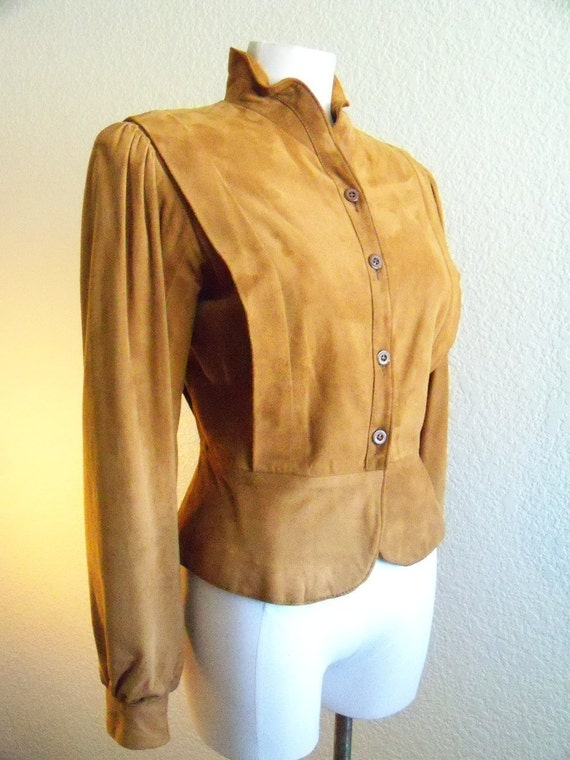 RESERVED vintage 80s does the 40s caramel suede jacket with peplum and insane tailored details