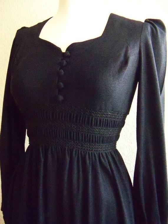 vintage 70s black gothic boho maxi dress
