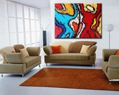 48x36 ORIGINAL FINE ART CONTEMPORARY ABSTRACT HUGE MODERN PAINTING - Hustle And Flo