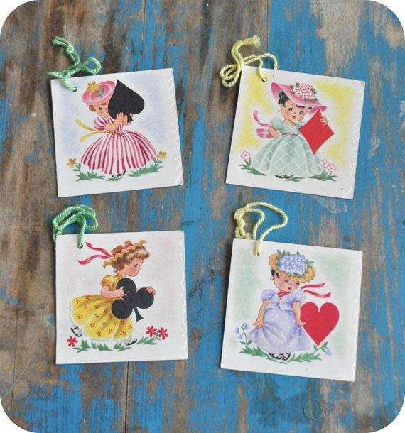 Vintage Bridge Talley, 1950s Set of Four, Paper Ephemera, Collectible, Little Girls