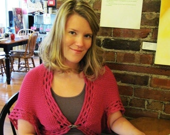Elspeth Shrug ~ A Knitting Pattern with Crocheted Edgings