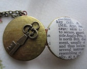 Vintage Key Dictionary Locket