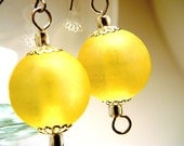 Large Frosted Lemon Drop Bright Yellow Drop Dangle Earrings