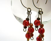 Bright Red Brown Eclectic Crackle Glass Beaded Demi Hoop Earrings
