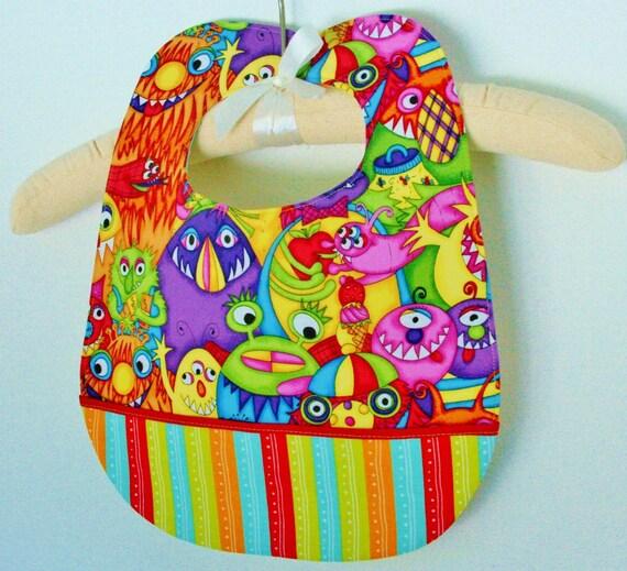 LITTLE MONSTER STRIPE Boutique Baby Toddler Bib - Large, Sturdy, Absorbent, Reversible, Pocket, Snap, Multi-Color