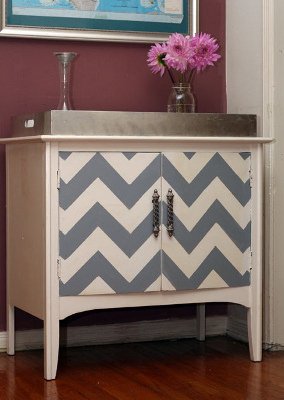 Vintage Modern Chevron Console Table- Reserved for Jason