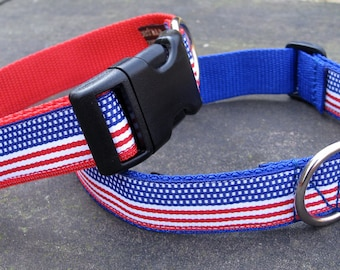 Stars & Stripes Dog Collars wide width for Larger dogs