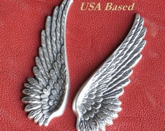 6 Metal Wings FREE Drilled HOLES upon request Lrg. 52mm Stampings  Charms Pendants Antique Silver Finish, 2 Inches long,