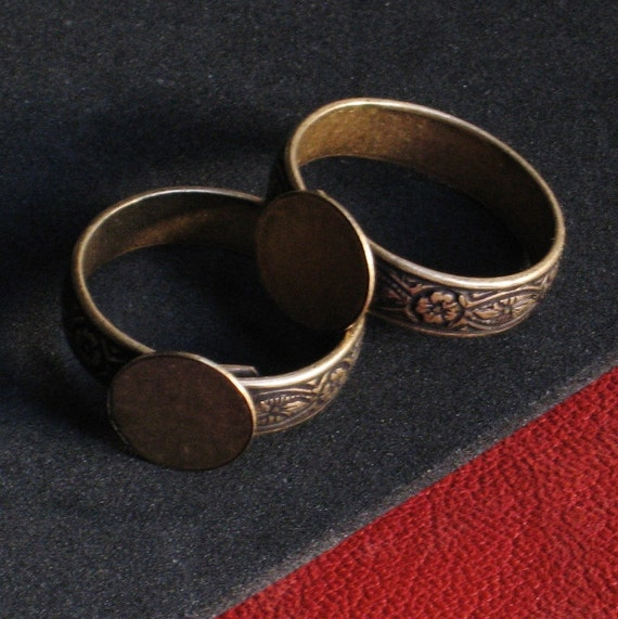 Ring Base 6 Antique Gold Brass Blanks HIDDEN Adjustable to size 11 large 1st Quality NO black spot at end of band Oxidized Floral Texture