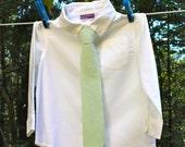 Boy's Tie - Green Seersucker  - any size