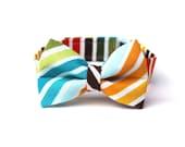 Baby Boy's Bow Tie - Multicolor Stripe - Brown Red Orange Yellow Green Blue White Multi Bowtie
