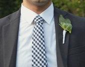 Men's Tie - Navy Blue Gingham - Navy Blue and White Checks