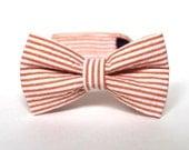 Boy's Bow Tie - Orange Seersucker Stripe - Citrus Coral Peach Pinstripe Tie