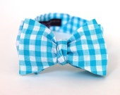 Men's Bow Tie - Turquoise Gingham - Aqua Blue and White Check Bowtie - Adjustable