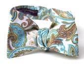 Men's Bow Tie - Blue Tan Paisley Cotton Freestyle Bowtie - Adjustable