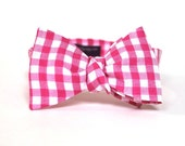 Men's Bow Tie - Fuchsia Gingham - Hot Pink and White Checks Bowtie - Adjustable