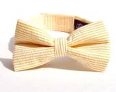 Baby Boy's Bow Tie - Yellow Seersucker Stripe