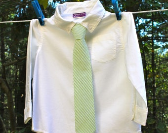 Boy's Tie - Green Seersucker  - any size boys necktie